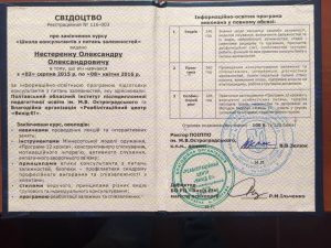 Сертификат Александр Александрович Нестеренко