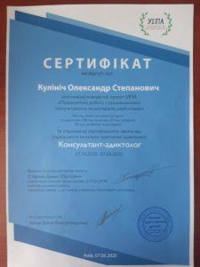 Сертификат Консультант-адиктолог Кулинич Александр